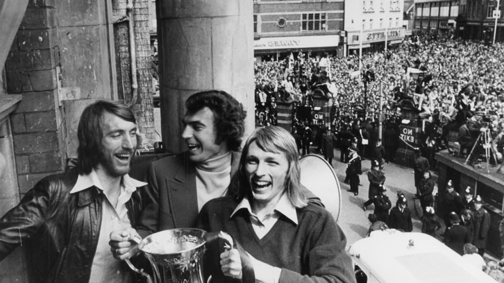 Billy Bonds celebrates winning the FA Cup with Alan Taylor and Trevor Brooking