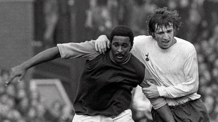 Clyde Best in action against Tottenham Hotspur in 1972