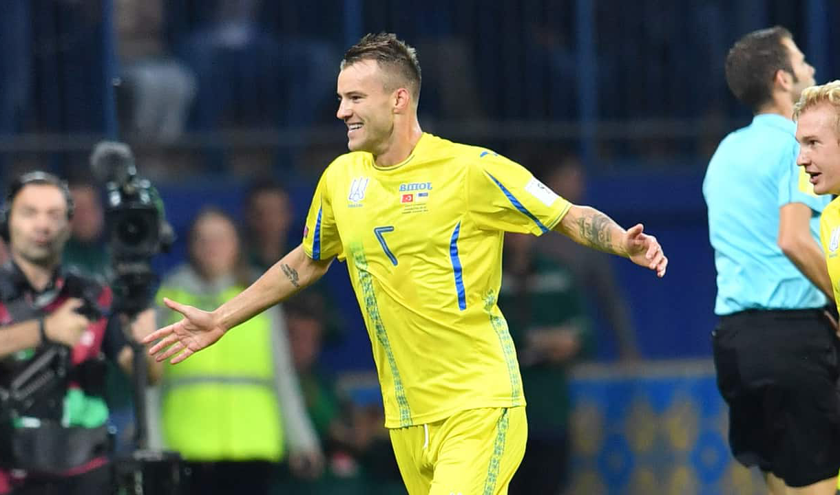 Andriy Yarmolenko celebrates scoring for Ukraine