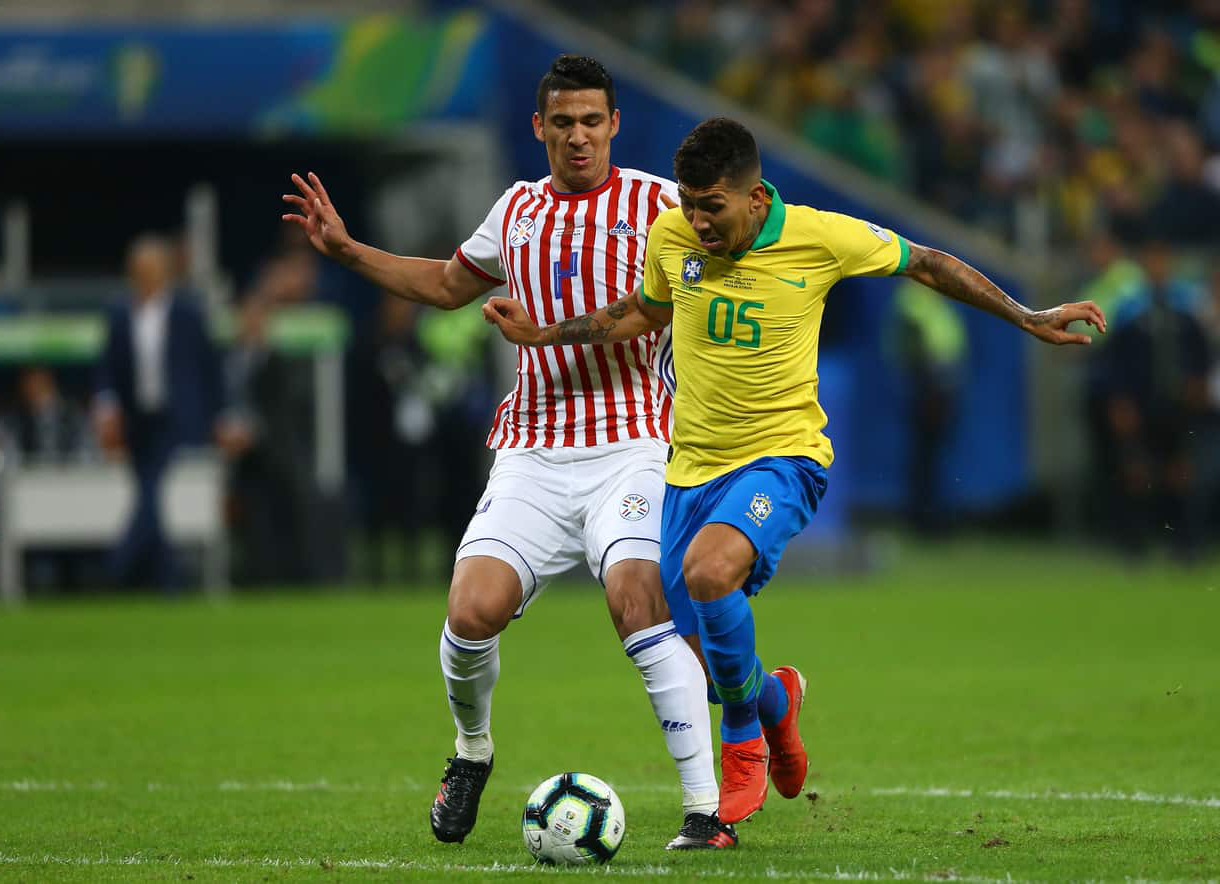 Fabian Balbuena playing for Paraguay against Brazil