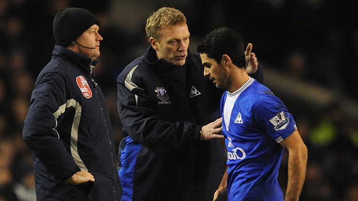 Mikel Arteta and David Moyes at Everton in 2010