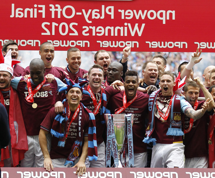 The 2012 West Ham team celebrate winning the Play-off final
