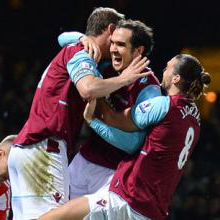 Joey O'Brien celebrates scoring his first goal for West Ham against Stoke City