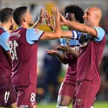 The Hammers celebrate their second goal at Newport