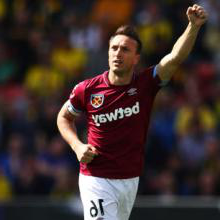 Mark Noble celebrates scoring at Watford in May 2019
