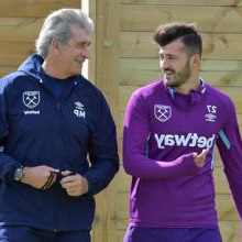 Albian Ajeti and Manuel Pellegrini chat