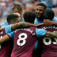 West Ham celebrate scoring against Norwich
