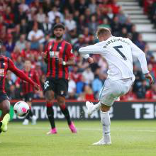 Andriy Yarmolenko scores at Bournemouth