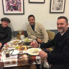 Lee Clayton, Jamie Redknapp and Mark Noble enjoy pie and mash