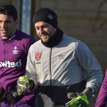 Lukasz Fabianski in training at Rush Green on Monday