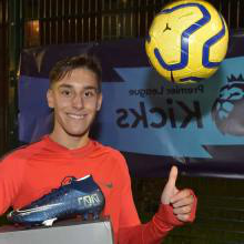 Mario Lucas Simut with his Premier League Kicks prize