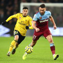 Robert Snodgrass in action against Arsenal