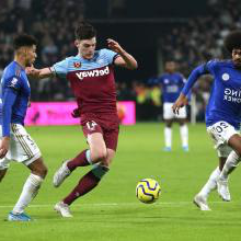 Declan Rice in action against Leicester
