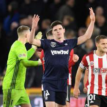 Declan Rice shows his frustration at the Hammers' goal being ruled out