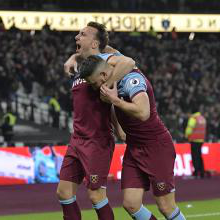 Mark Noble and Robert Snodgrass celebrate against Bournemouth