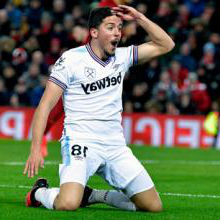 Pablo Fornals celebrates scoring at Anfield