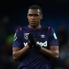 Issa Diop applauds the Hammers fans at Manchester City