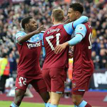 The Hammers celebrate scoring against Southampton