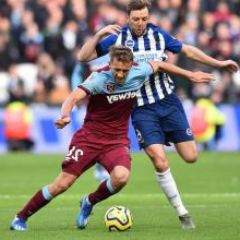 Tomas Soucek in action against Brighton