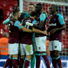 West Ham celebrate a 3-2 win over Tottenham
