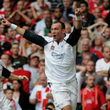 Dean Ashton celebrates his goal v Liverpool