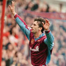 Paul Kitson celebrates scoring against Newcastle in March 1999
