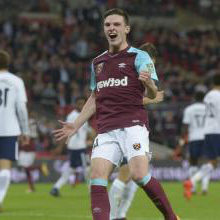 Declan Rice in action against Tottenham