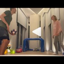 Tomas Soucek and his wife play keepy-uppy
