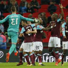 The Hammers celebrate their win at Tottenham
