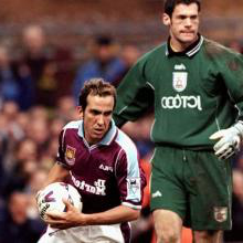 Paolo Di Canio retrieves the ball after scoring against Bradford