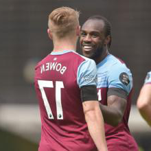 Michail Antonio celebrates scoring four at Norwich