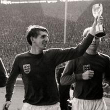 Martin Peters celebrates winning the 1966 World Cup final