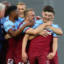 Declan Rice celebrates his goal against 沃特福德
