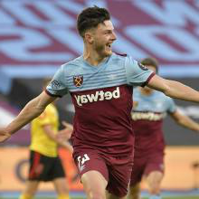 Declan Rice celebrates his goal against Watford