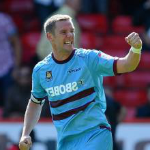 Kevin Nolan celebrates scoring for the Hammers
