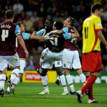 The Hammers celebrate at Watford