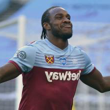 Michail Antonio celebrates scoring against Watford