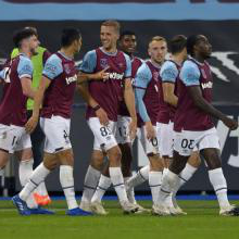 The Hammers celebrate scoring against Wolves