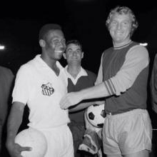 Bobby Moore with Brazil legend Pele