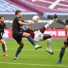Michail Antonio scores against Manchester City