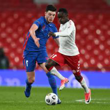 Declan Rice in action against Denmark