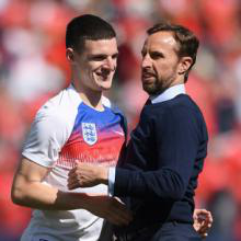 Gareth Southgate with Declan Rice