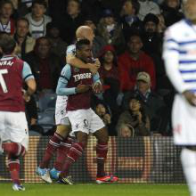 The Hammers celebrate at QPR