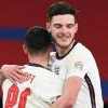 Declan Rice celebrates with Phil Foden
